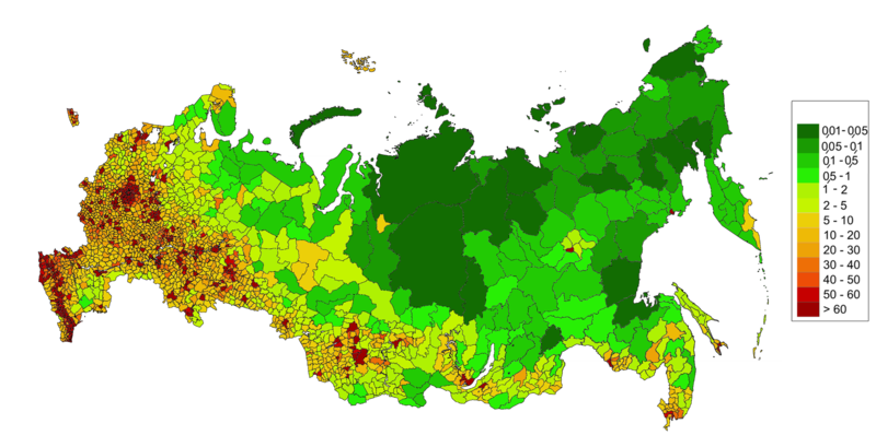 Map of Russia-population density [CC BY-SA 3.0 (http://creativecommons.org/licenses/by-sa/3.0)], via Wikimedia Commons