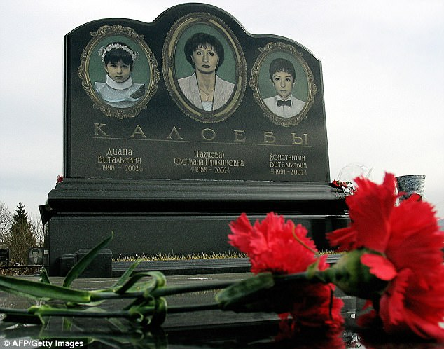 Headstone of the Kaloyev family at a cemetery in Vladikavkaz after they were killed in the crash
