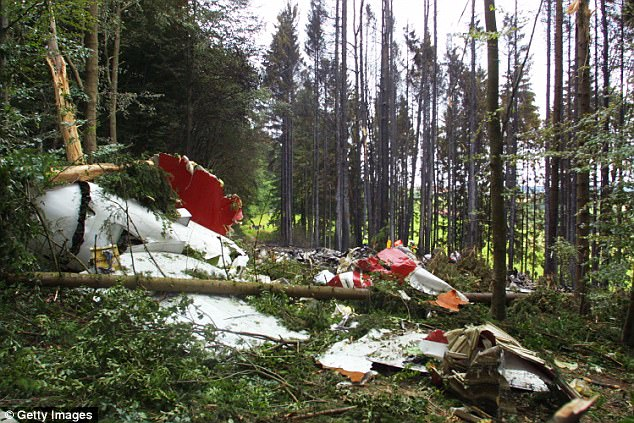 The devastated front section of a DHL Boeing 757 cargo plane lies in a forest in Germany
