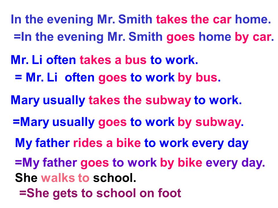 In the evening Mr. Smith takes the car home.