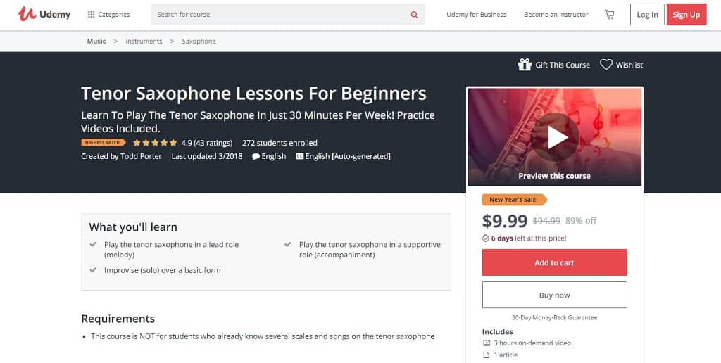 udemy-course-3 Saxophone Lessons for Beginners