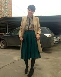юбка по колено зимой