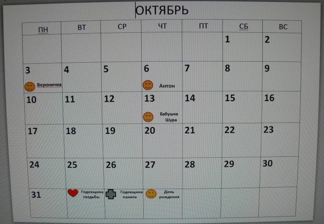 Календарь с датами рождения