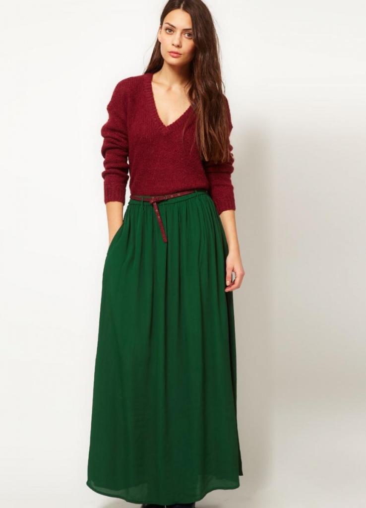 юбка в пол со свитером 1